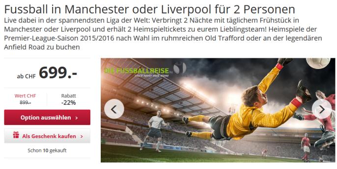 Fussballreise nach Manchester oder Liverpool