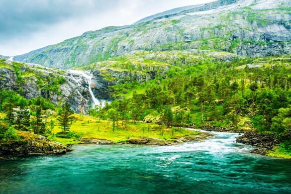 Norwegen Wasserfall Landschaft