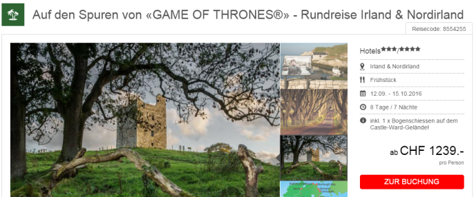 Game of Thrones Irland Rundreise