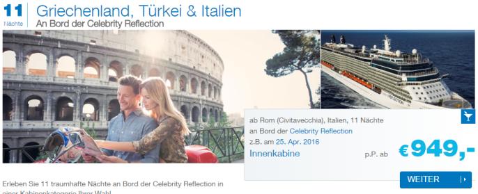 Kreuzfahrt Italien-Griechenland-Türkei