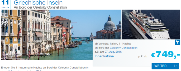 Kreuzfahrt mit der Celebrity Constellation