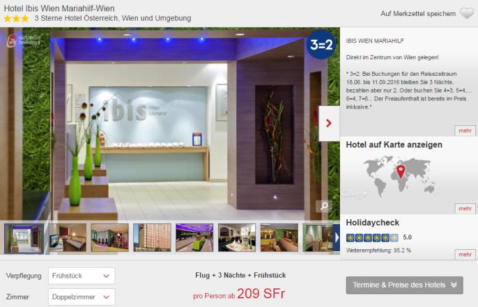 Wien Städtetrip ibis hotel