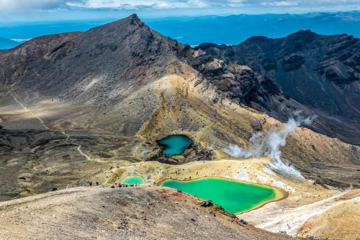 Emerald lakes are volcanic lakes on top of the tongariro volcanic massive, Tongariro crossing, New Zealand