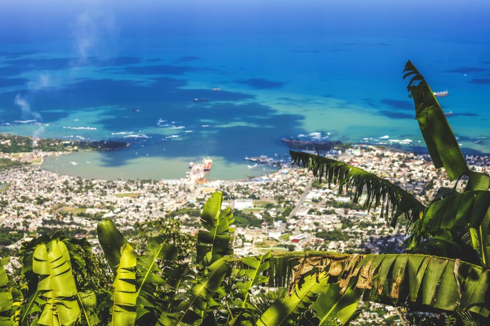 Aerial view to Caribbean town.