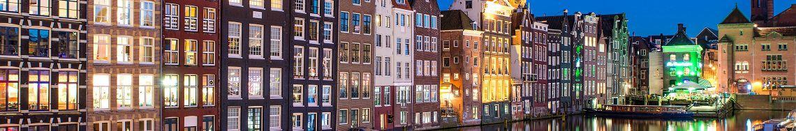 Night city view in Amsterdam, Netherlands.