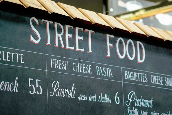 Streetfood Sign on local market in London, from Italian restaurant