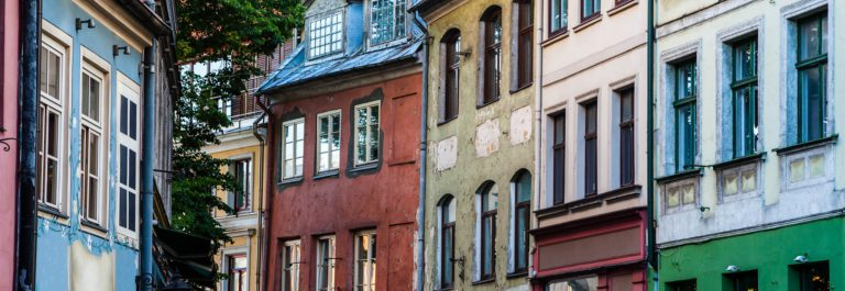 Houses on old street in Riga, Latvia
