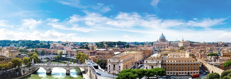 header Panorama of Rome and Basilica of St. Peter in a summer day in Vatican shutterstock_351220472