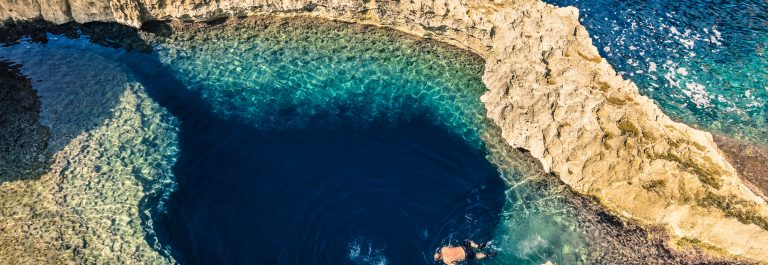 Blue hole at Azure Window in Gozo Malta