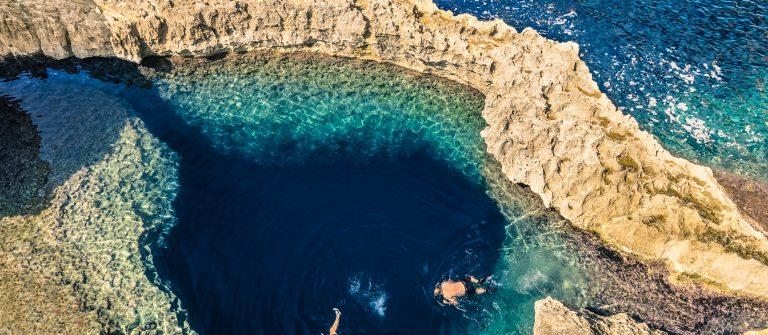 Blue hole at Azure Window in Gozo Malta