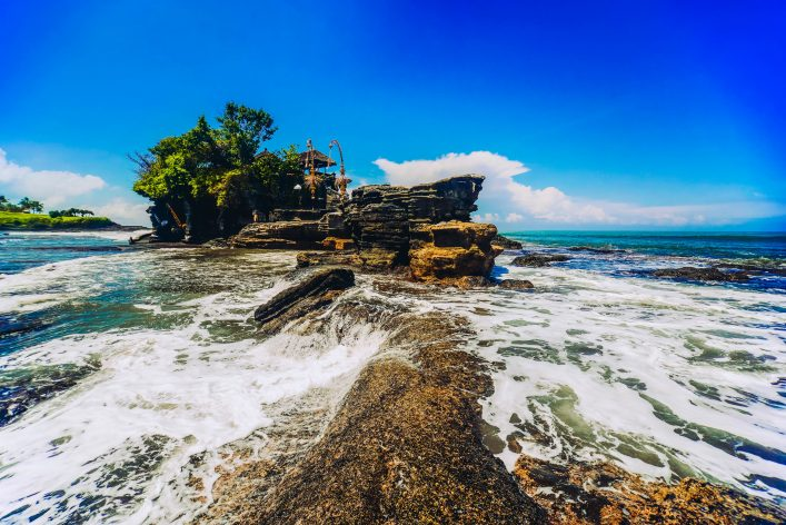Wide Agnle view of Tanah Lot Water Temple, Bali, Indonesia