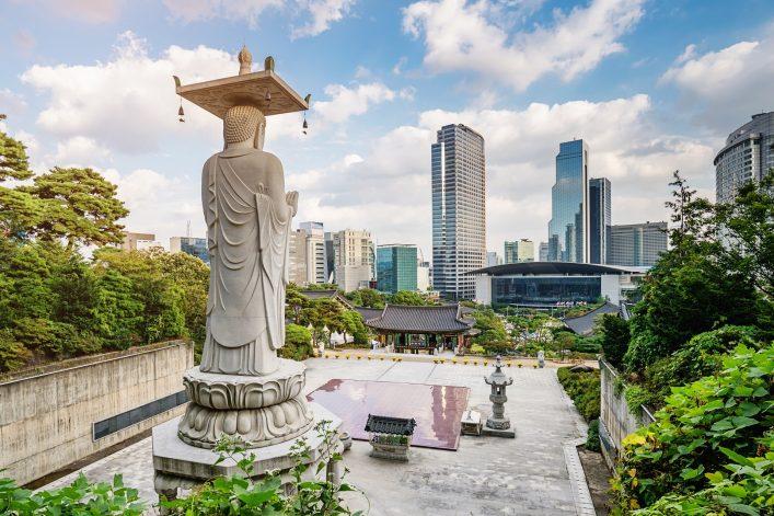 Seoul South Korea Bongeunsa Temple Summer Cityscape