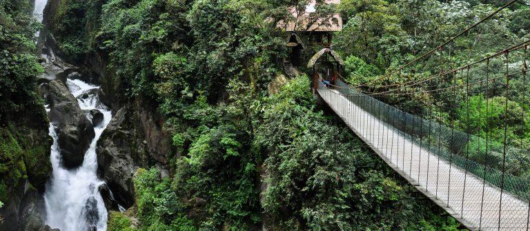 Suspended bridge in Banos Santa Agua, Ecuador_shutterstock_196748591