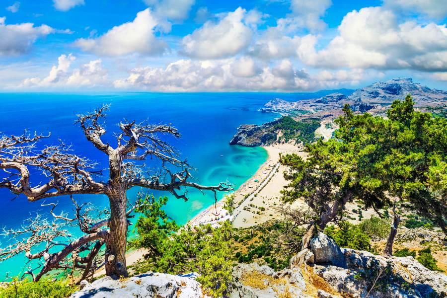 Fantastic Beaches Of Greece.Tsambika Bay On Rhodes Island.