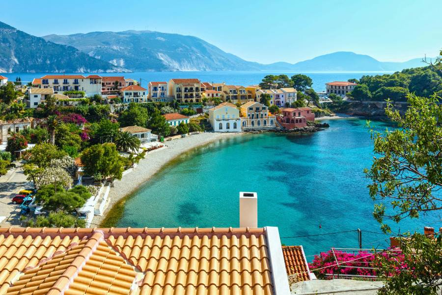 Summer sea view of Assos village (Greece,  Kefalonia, Ionian Sea).