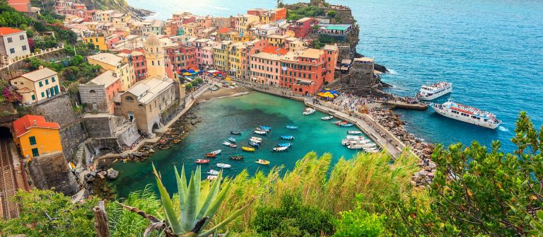 Vernazza village and stunning sunrise,Cinque Terre,Italy,Europe