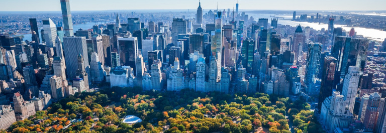 New York City Skyline, Central Park, autumn foliage, aerial view