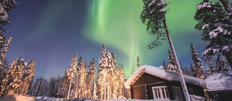 Massive vibrant Aurora Borealis Northern Lights in Lapland, Norway