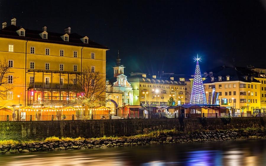 View of a Christmas market in Innsbruck – Austria