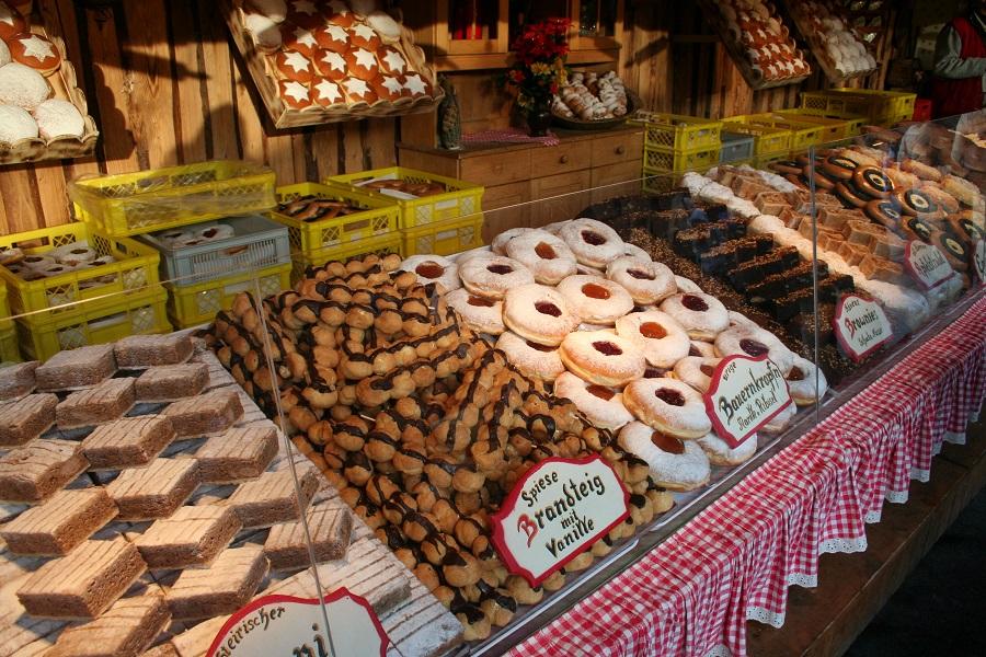 Window display of sweet pastries
