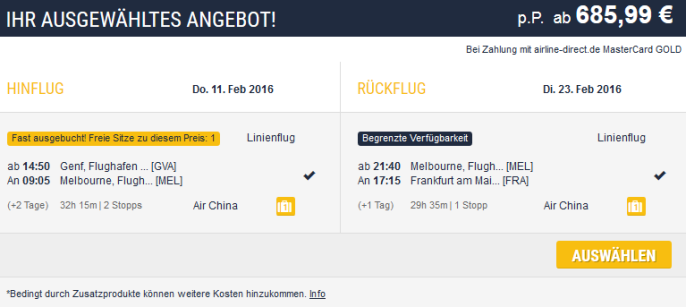 Flug Melbourne