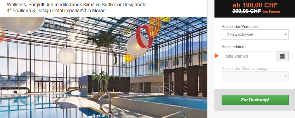 Therme meran 3 tage top hotel mit vip thermeneintritt for Art design boutique hotel imperialart