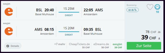 Amsterdam Flug Schnäppli