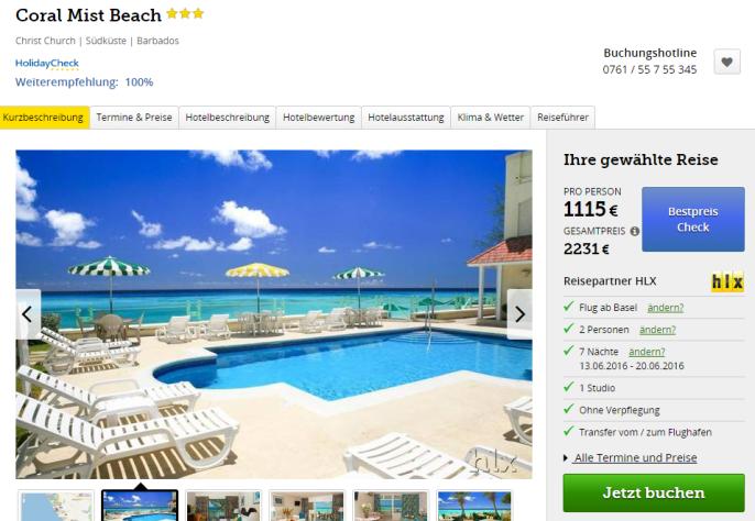 Traumreise Barbados Hotel